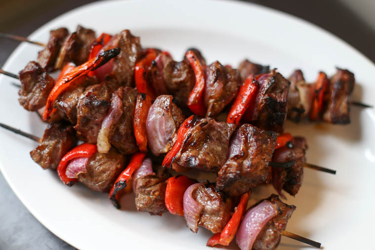 Pile of sirloin steak kebabs