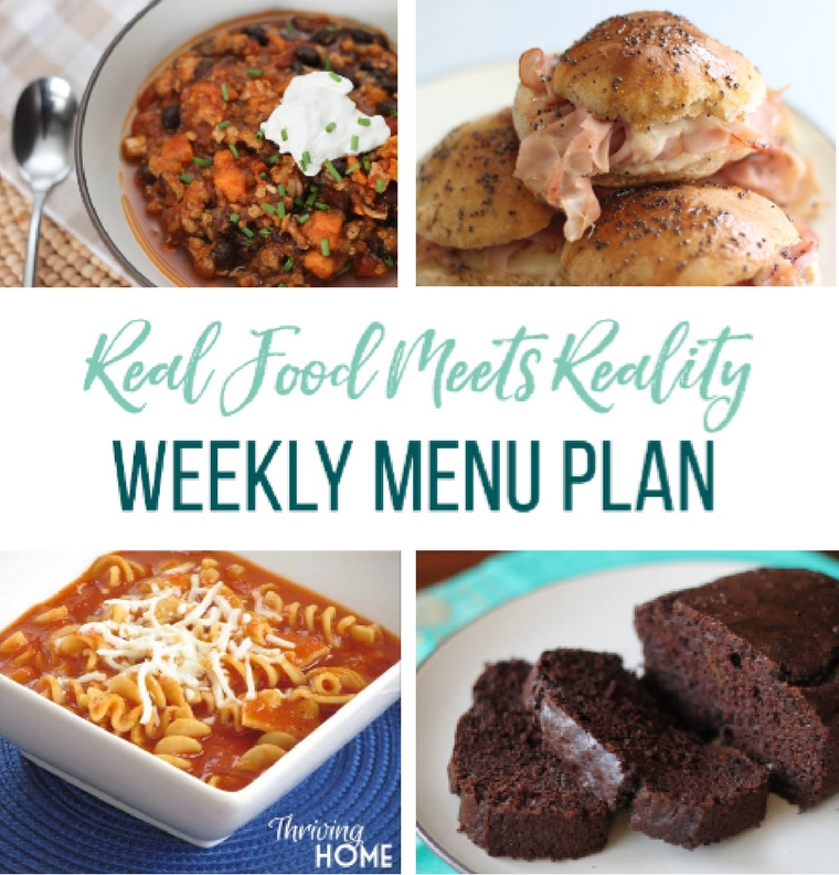 Real Food Menu Plan: Easy and delicious meal ideas that the whole family will love. Posted every Friday at Thriving Home.