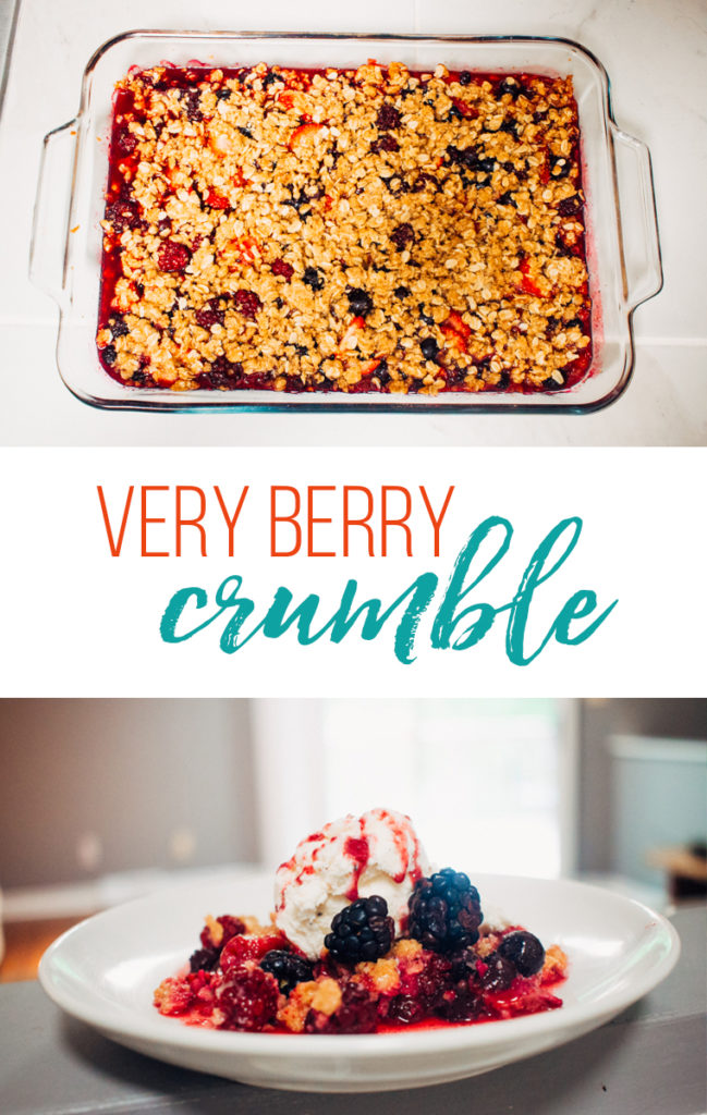 very berry crumble in baking dish and on a plate
