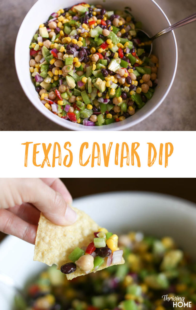 This Texas Caviar Dip is the BEST appetizer. The simple, homemade dressing that you add gives it the perfect sweet, tangy flavor that will have your crowd coming back for more!