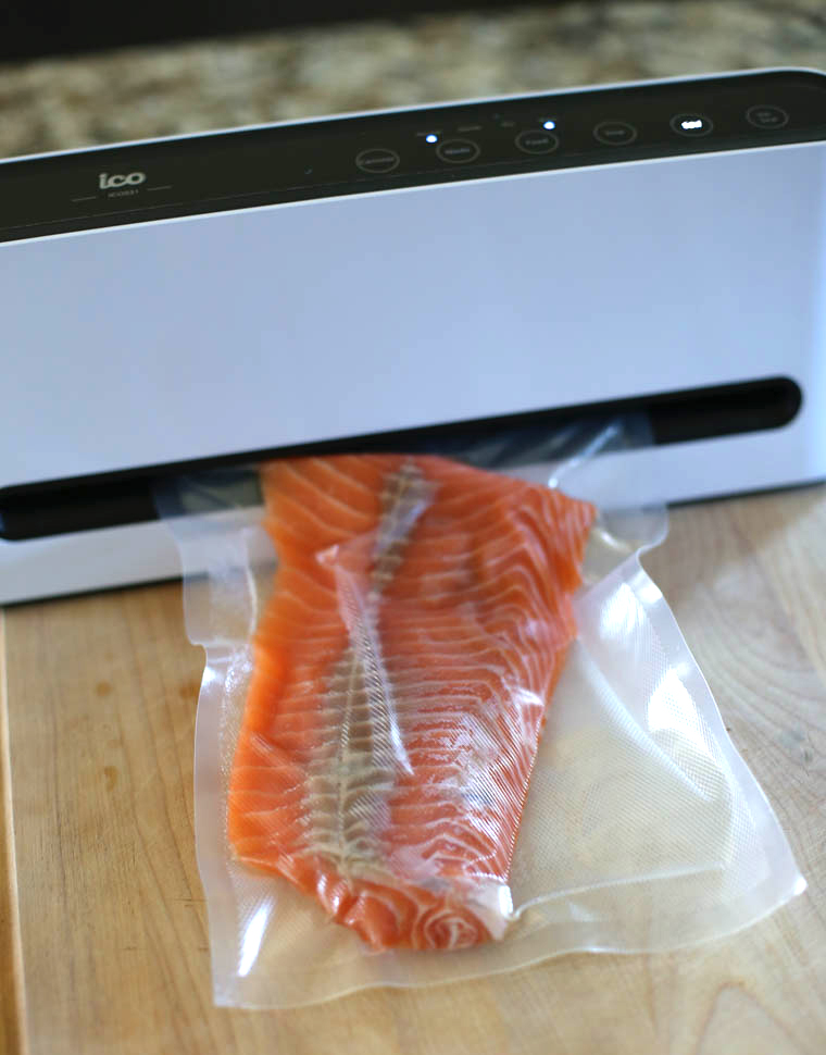 salmon in a vacuum sealer