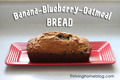 Banana Blueberry Oatmeal Bread Recipe
