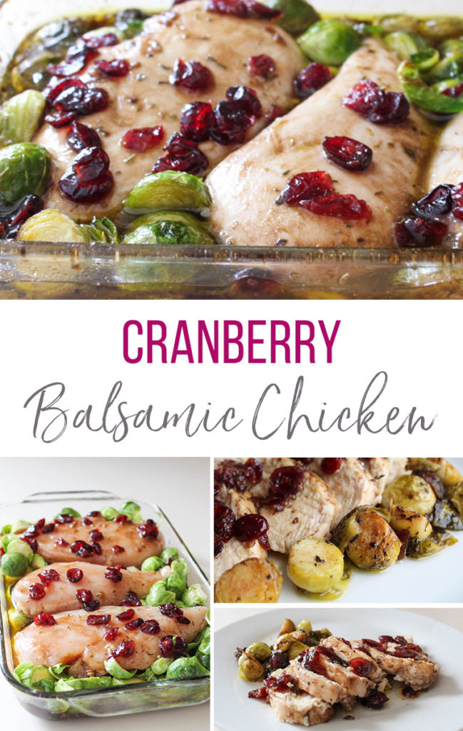 Easy and delicious, freezer-friendly, Cranberry Balsamic Baked Chicken with Brussels sprouts.