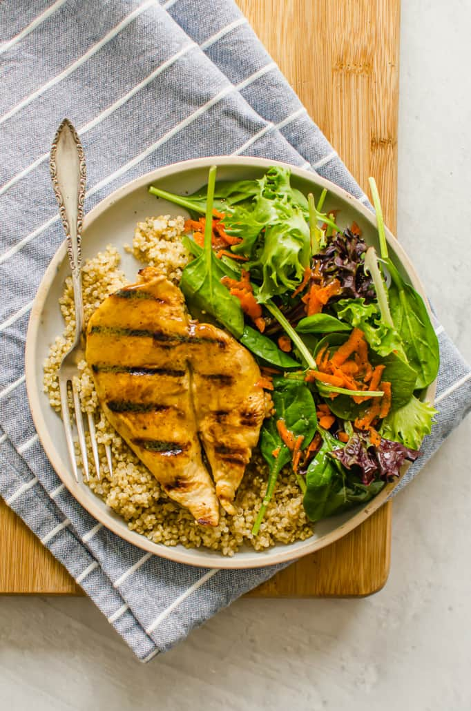 Honey Dijon Grilled Chicken over rice with a side salad
