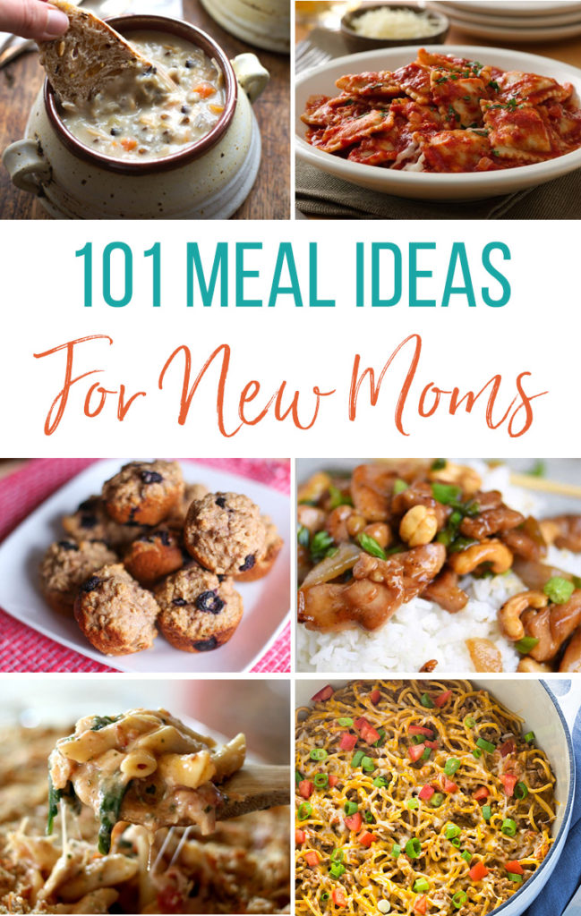 101 Meal Ideas for New Moms. Whether you are stocking the freezer for the baby looking for meals ideas to take to others, this list will be one you want to have on hand.