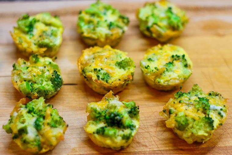 Broccoli Cheddar Bites on cutting board