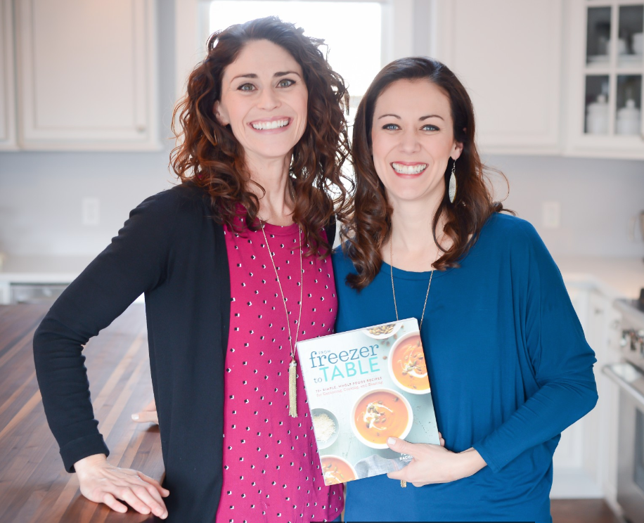 Rachel and Polly with cookbook