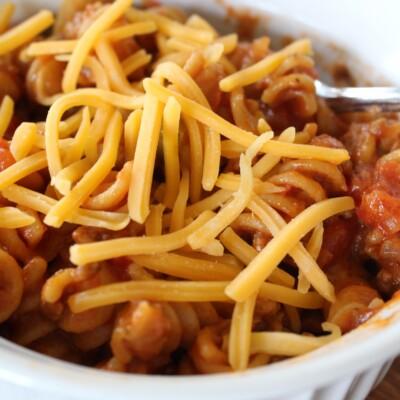 bowl of cheeseburger pasta