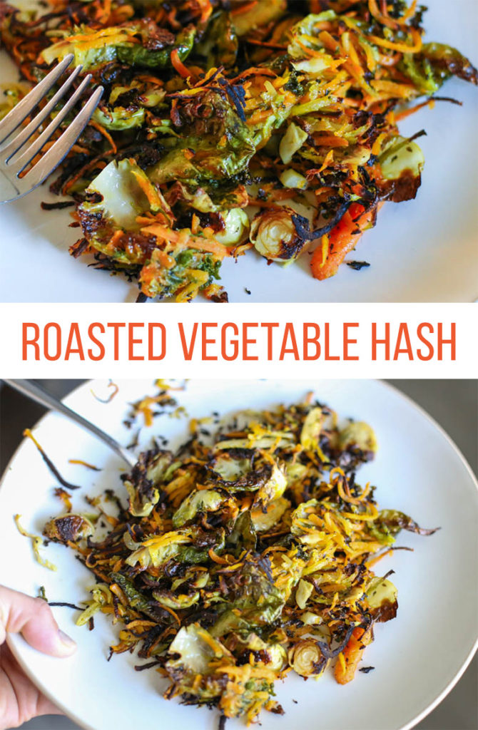 Shredded Roasted vegetables on a plate