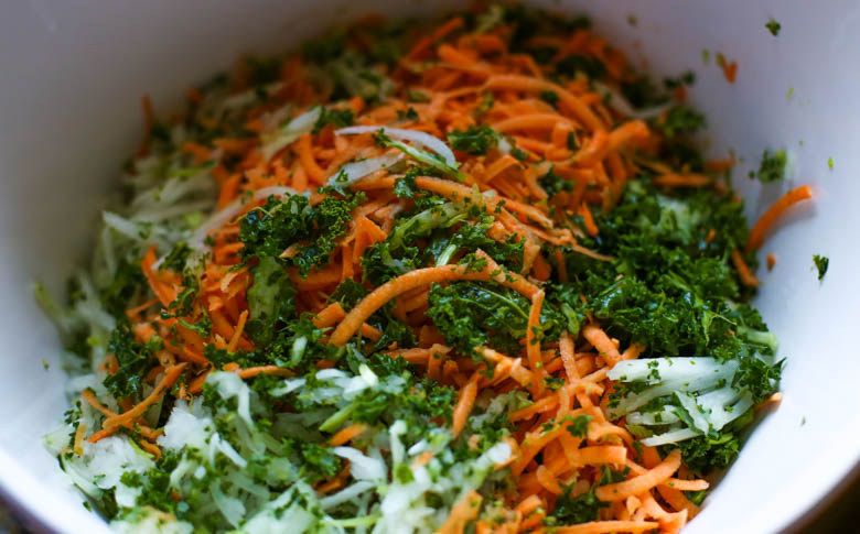 raw shredded vegetables in a bowl