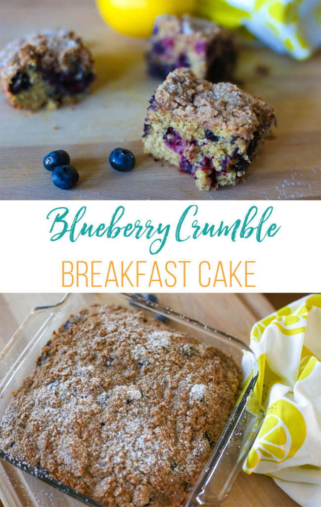 Blueberry crumble cake on a wooden cutting board