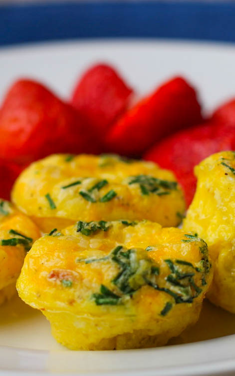 egg muffins and strawberries