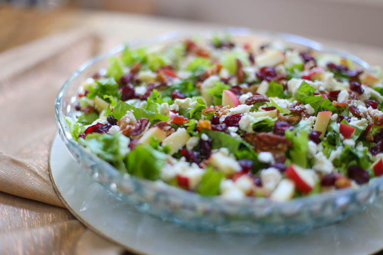 Autumn Chopped Salad in a glass bowl