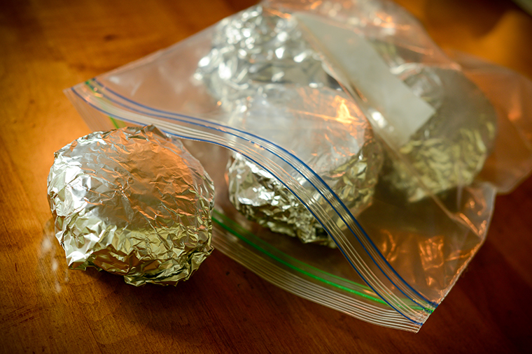 Foil wrapped sandwiches for the freezer