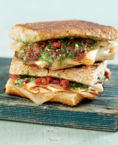 Freezer friendly turkey pesto paninis. Freezer meal for 1 or 2 people.