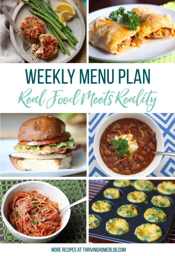 collage of meal ideas for weekly menu plan