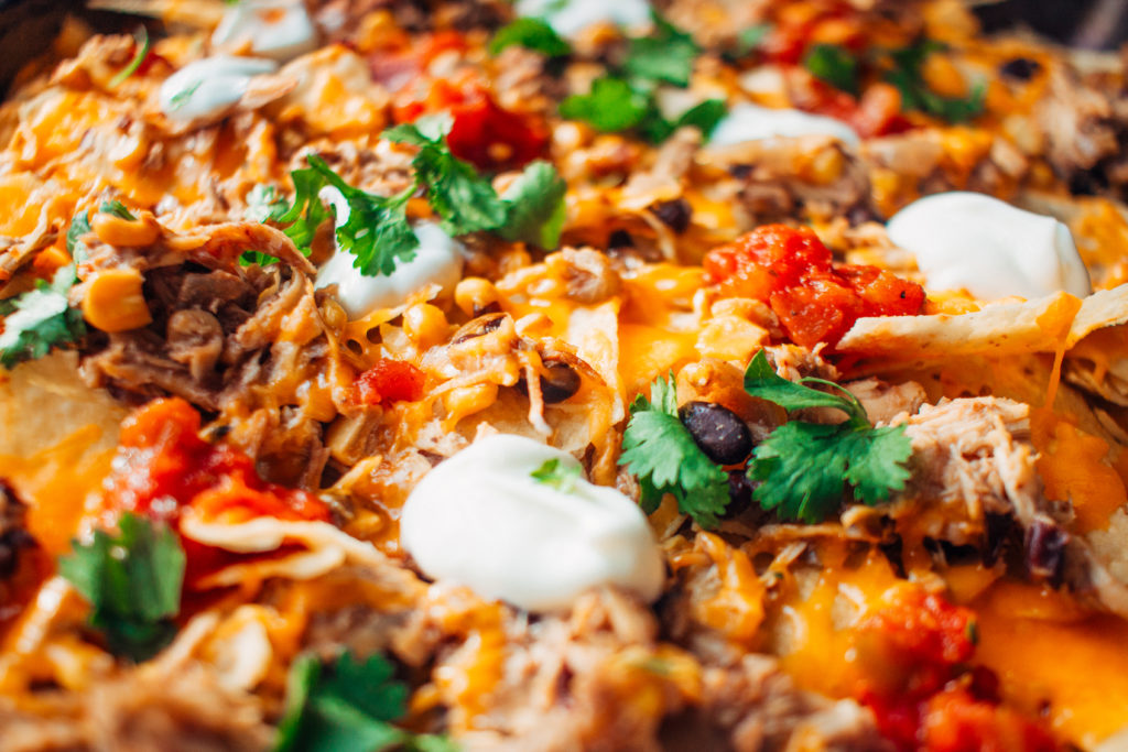 Close up of instant pot chicken nachos
