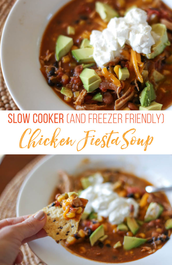 Slow cooker chicken fiesta soup in a white bowl