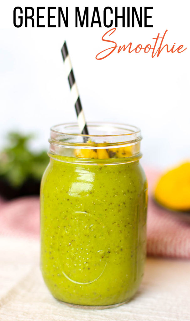 green smoothie with mango and chia in mason jar with straw