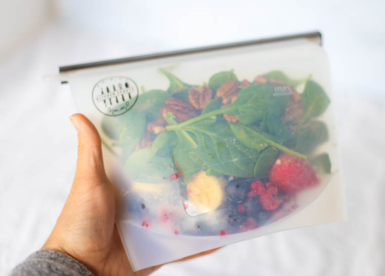 smoothie pack in a silicone storage bag