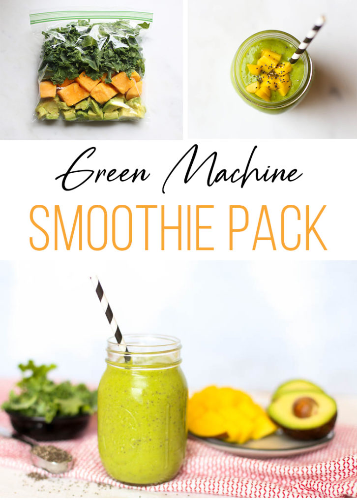 green smoothie with straw, freezer smoothie pack