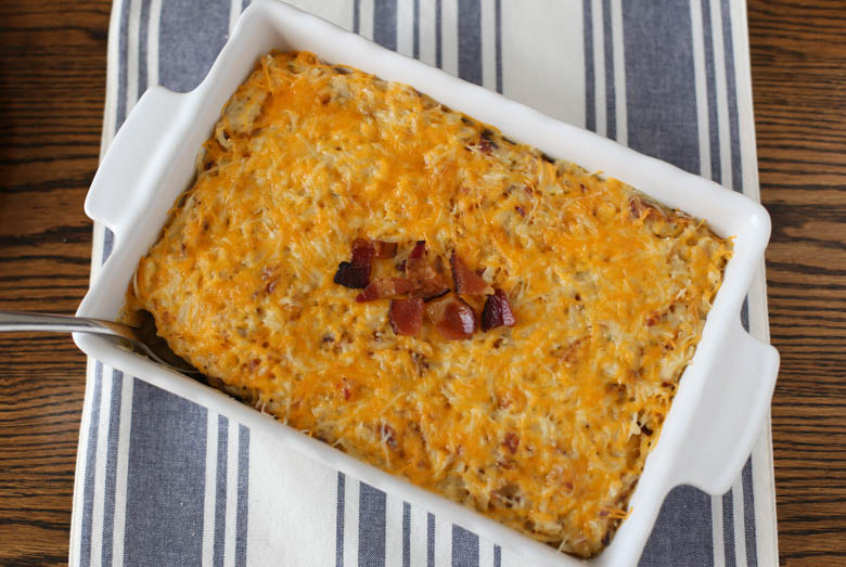 hash brown casserole on table