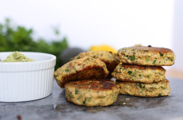 Salmon patties stacked