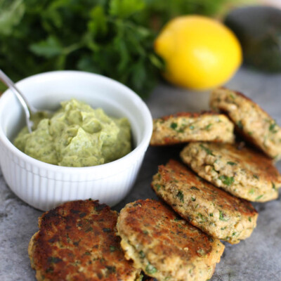 Mini Wild Salmon Patties with Lemony Avocado Sauce {Gluten-Free, Dairy-Free Freezer Meal}