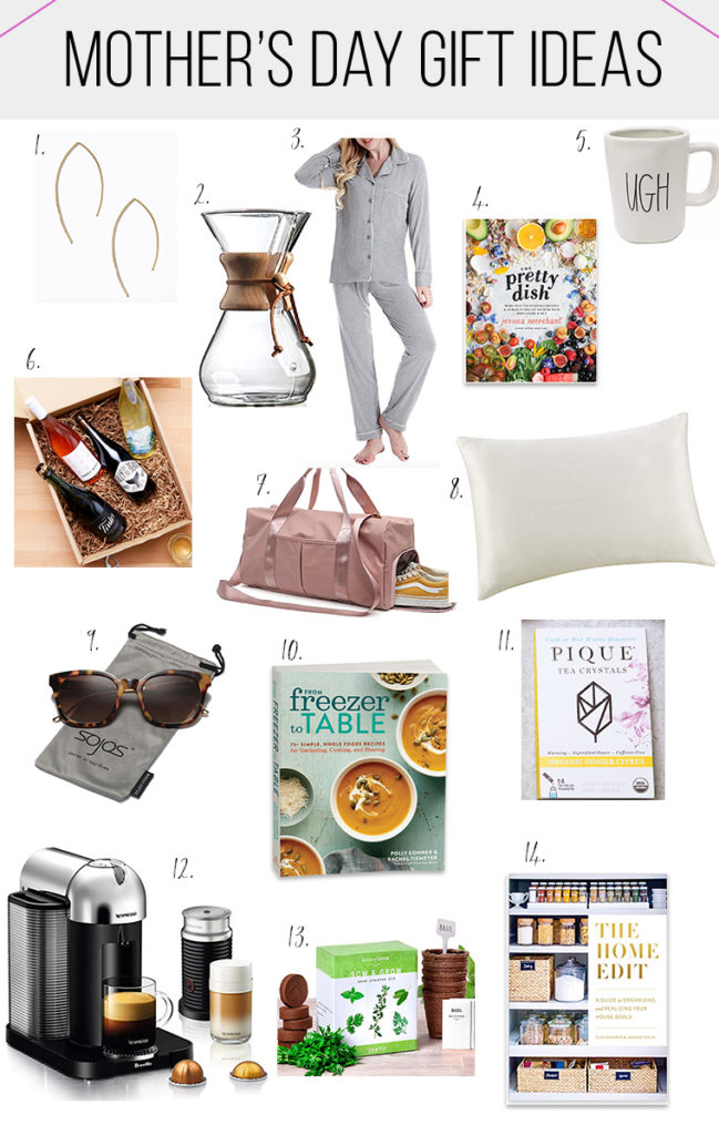 Collage image of Mother's Day gift ideas.