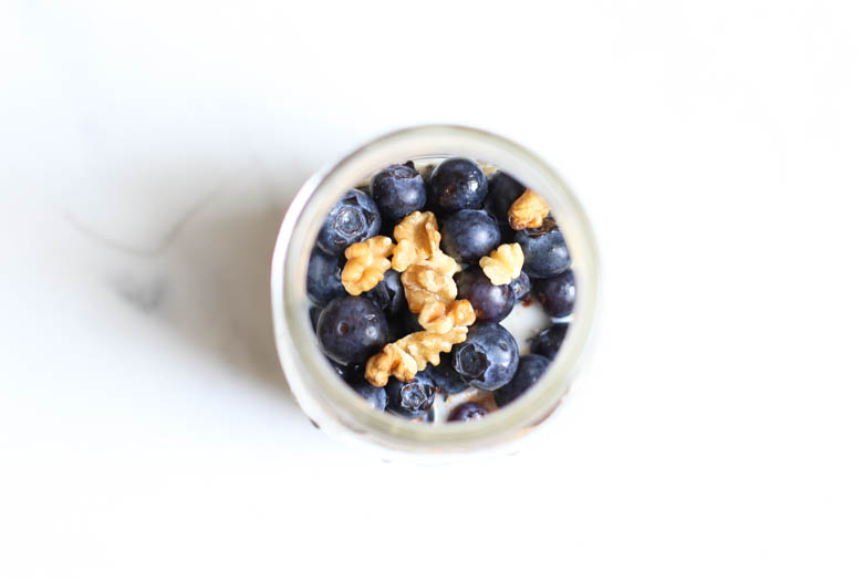 Overhead shot of blueberry muffin overnight oats