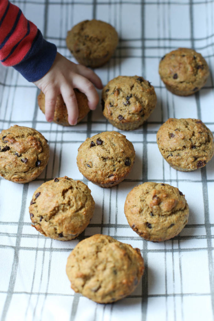 chocolate chip banana muffins on a tea towel with child's hand reaching for one muffin