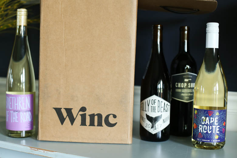 Winc box with wine bottles