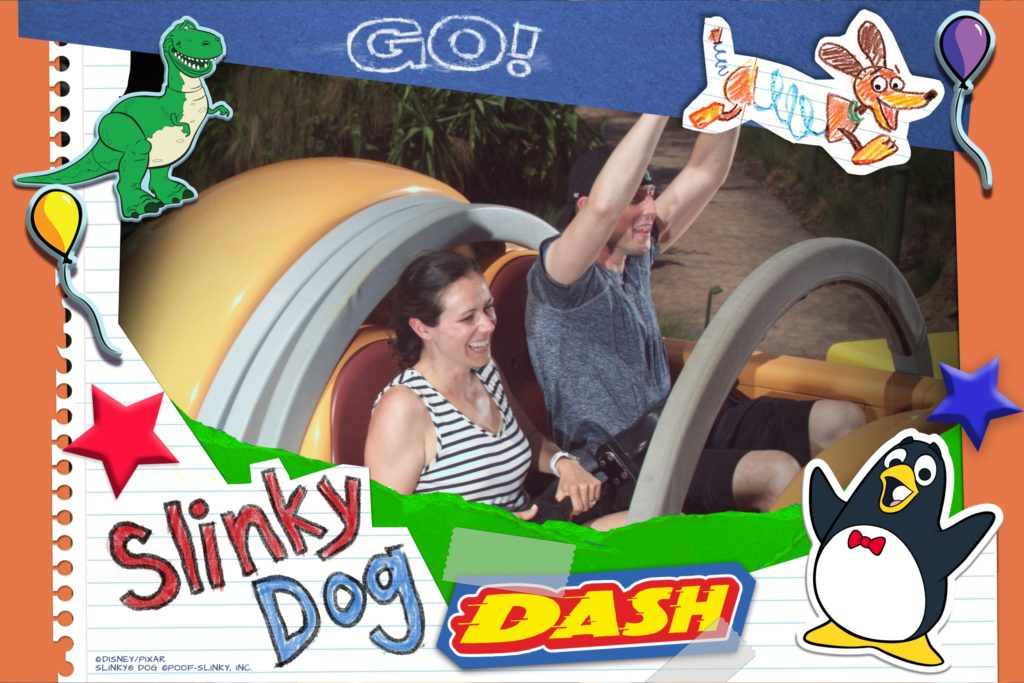 Slinky Dog Dash ride at Disney World