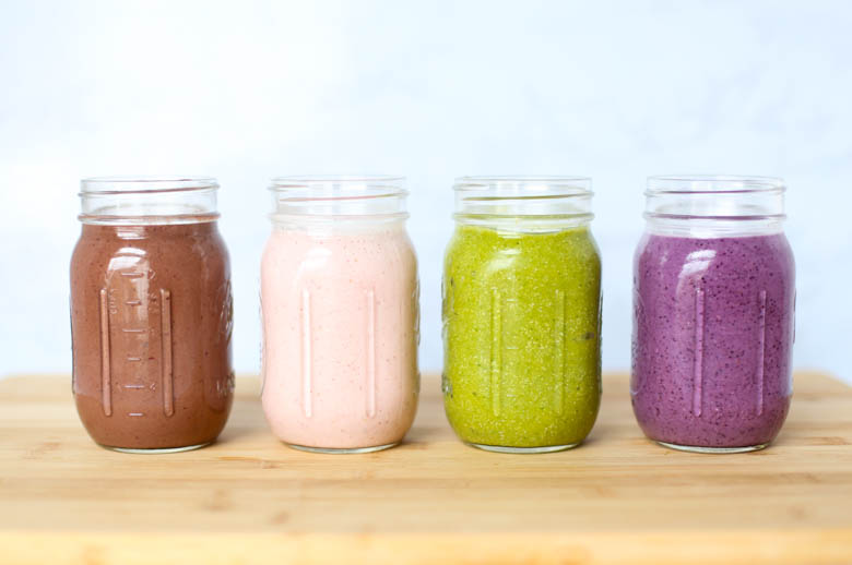 4 smoothie recipes in mason jars