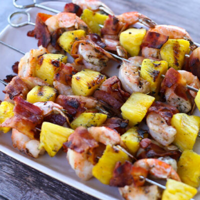 Bacon-Wrapped Shrimp and Pineapple Kabobs