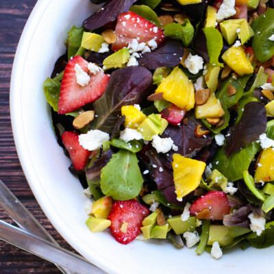 Strawberry Avocado Salad with Honey Balsamic Vinaigrette