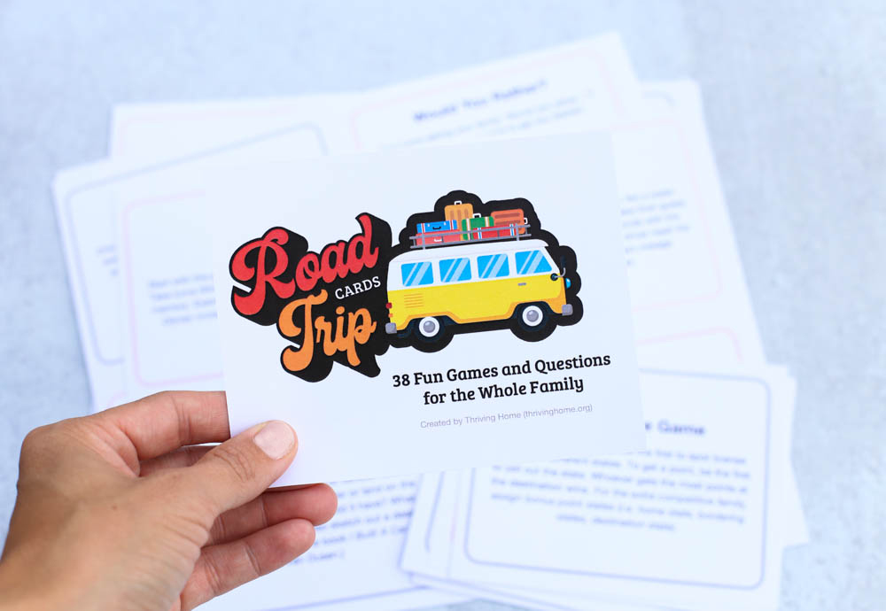 Ditch the screens! These cards will turn road trips into fun, family time. From laugh-out-loud silly stories to name-it competitions, get ready for all ages to be entertained!