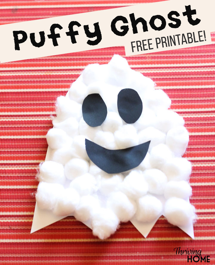 Puffy ghost preschool craft