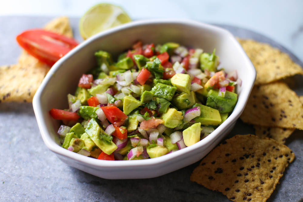 Avocado lime salsa in a white dish