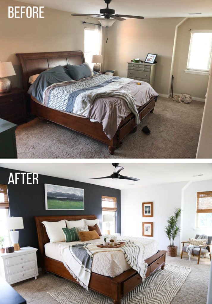 Before and after of a master bedroom
