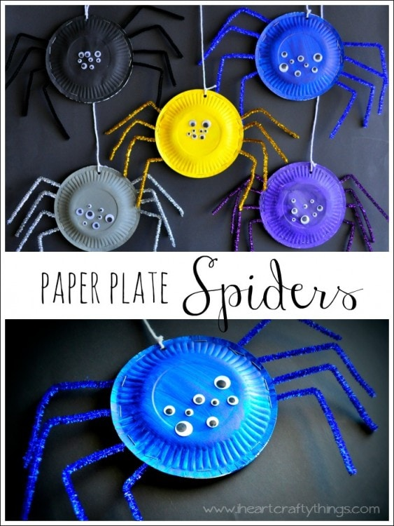 Paper Plate Spiders Halloween Craft for preschoolers