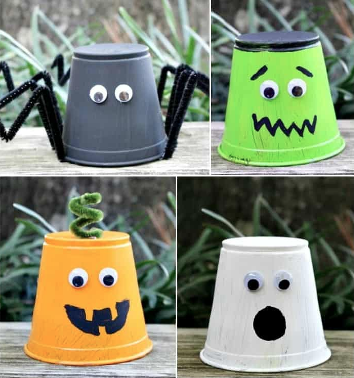 monster cups Halloween craft