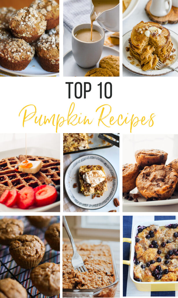 Collage image of top 10 pumpkin recipes