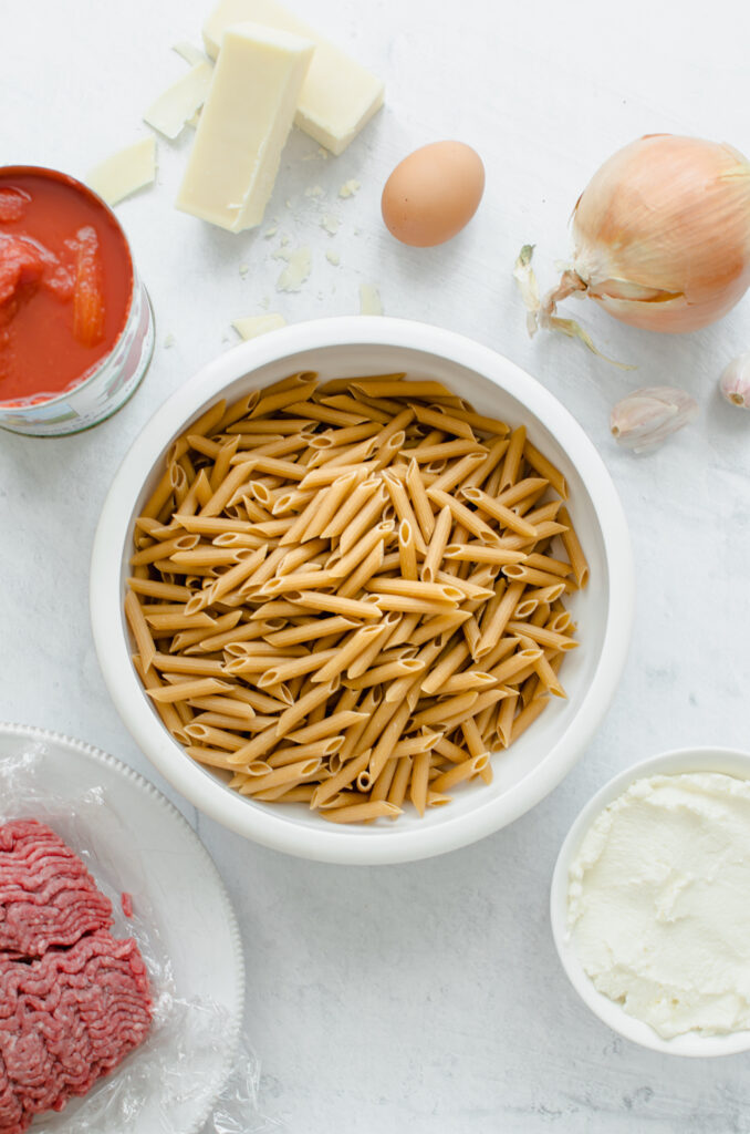 Ingredients for Baked Penne Pasta