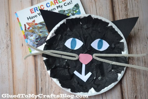 tissue paper black cat Halloween craft for kids