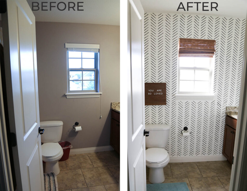 Before and After picture of kids bathroom