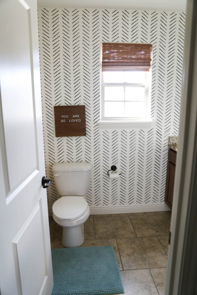 Hand drawn chevron wall stencil