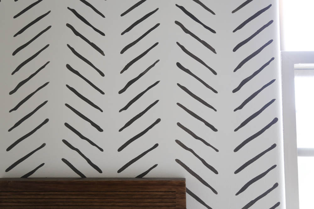 Close up of hand drawn chevron wall stencil