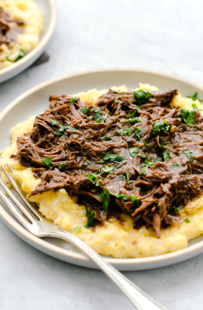 Slow cooker balsamic shredded beef for a crowd