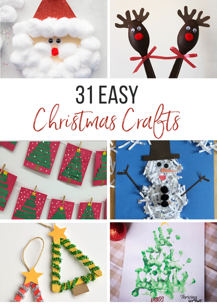 31 Easy Christmas Crafts for Kids collage